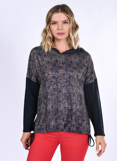WHIP Design Baskılı Kapşonlu Uzun Kol Pamuk Bluz Siyah